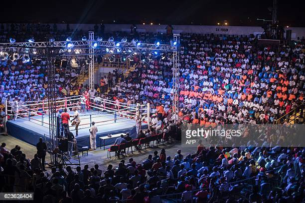 Fans attend the opening of the Bukom Boxing Arena one of the buildings inside the Trust Sports Emporium complex with a capacity for more than 4000...