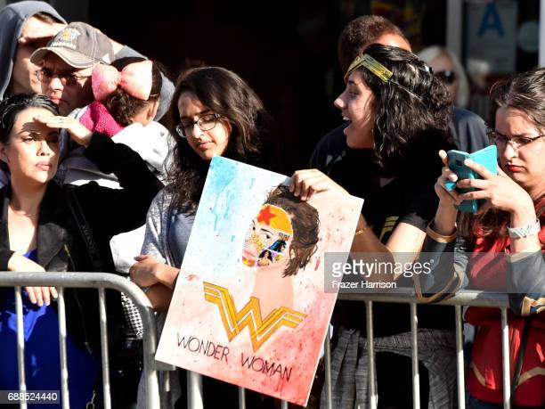 Fans attend the Premiere Of Warner Bros Pictures' 'Wonder Woman' at the Pantages Theatre on May 25 2017 in Hollywood California