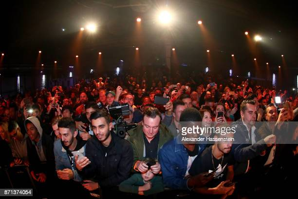 Fans attend the presentation of the 2018 FIFA World Cup Russia Adidas jersey at The Base on November 7 2017 in Berlin Germany