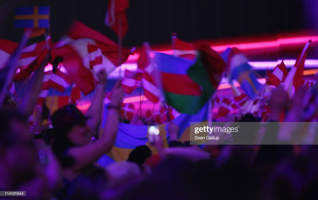 Fans attend the second semi-finals of the Eurovision Song Contest 2011 on May 12, 2011 in Duesseldorf, Germany.