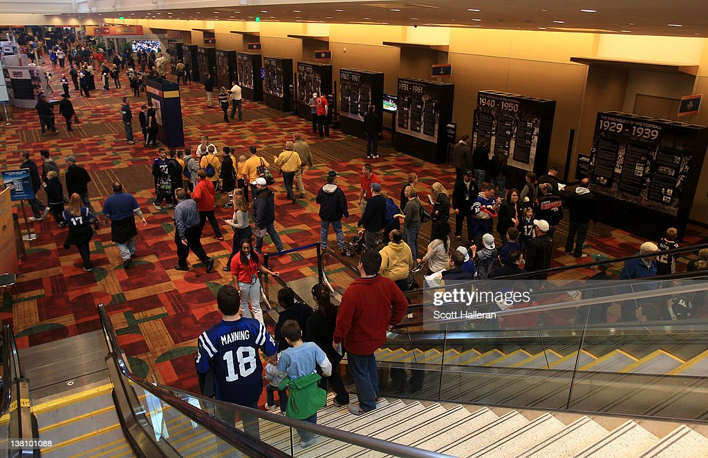Fans attend the Super Bowl XLVI NFL Experience presented by GMC at