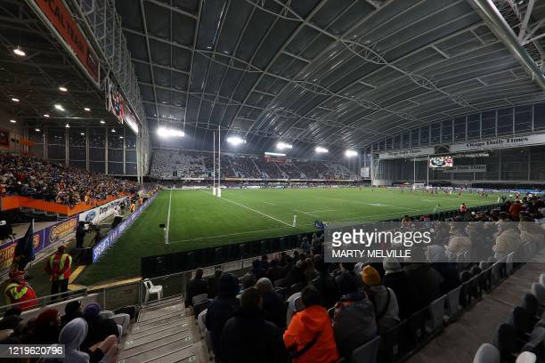 Fans attend the Super Rugby match between the Otago Highlanders and Waikato Chiefs at Forsyth Barr Stadium in Dunedin on June 13, 2020.