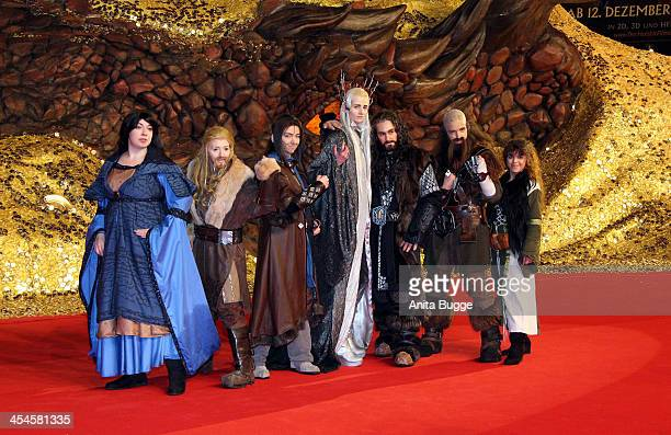 """Fans attend the """"The Hobbit: The Desolation of Smaug"""" European Premiere at Cinestar on December 9, 2013 in Berlin, Germany."""
