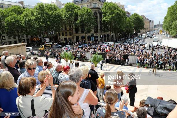 Fans attend the Tribute to Johnny Hallyday at Eglise De La Madeleine on June 15 2018 in Paris France