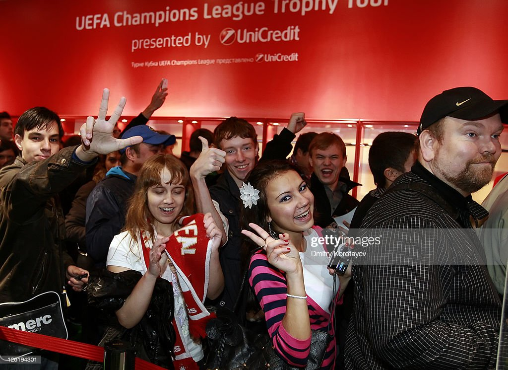 Fans attend the UEFA Champions League Trophy Tour 2011 on September 23, 2011 in Moscow, Russia.