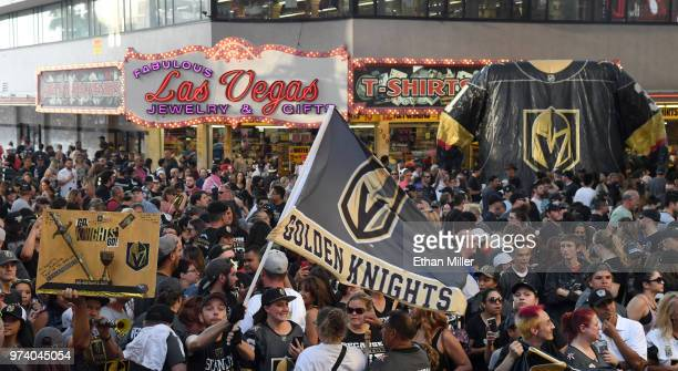 Fans attend the Vegas Golden Knights' 'Stick Salute to Vegas and Our Fans' event at the Fremont Street Experience on June 13 2018 in Las Vegas Nevada...