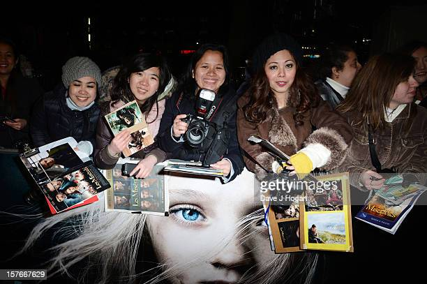 Fans attend the world premiere of Les Miserables at The Odeon Leicester Square on December 5 2012 in London England