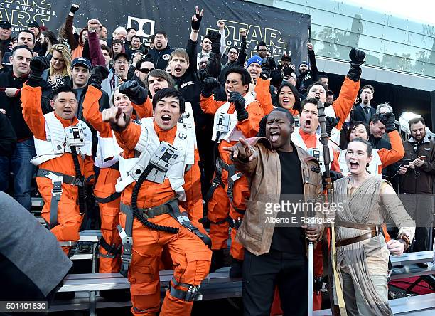 "Fans attend the World Premiere of ""Star Wars The Force Awakens"" at the Dolby El Capitan and TCL Theatres on December 14 2015 in Hollywood California"