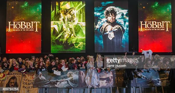"Fans attend the World Premiere of ""The Hobbit: The Battle OF The Five Armies"" at Odeon Leicester Square on December 1, 2014 in London, England."