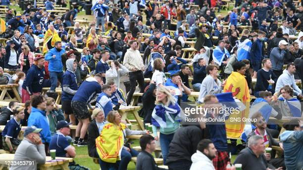 Fans attend to watch Scotland v Czech Republic at the Euro Fan Zone during Scotland's opening Euro 2020 match against Czech Republic at Glasgow Green...