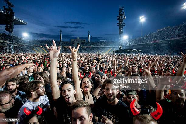 CD fans attending the concert at Estadi Olimpic Lluis Companys on May 29 2015 in Barcelona Spain