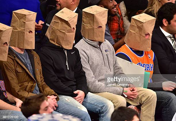Fans attends the Houston Rockets vs New York Knicks game at Madison Square Garden on January 8 2015 in New York City