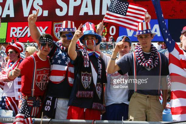 Fans attends the International Friendly match between the United States and Spain at Gillette Stadium on June 4 2011 in Foxboro Massachusetts