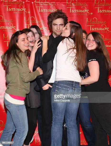 Fans attends the Robert Pattinson wax figure unveiling at Madame Tussauds on March 25 2010 in New York City