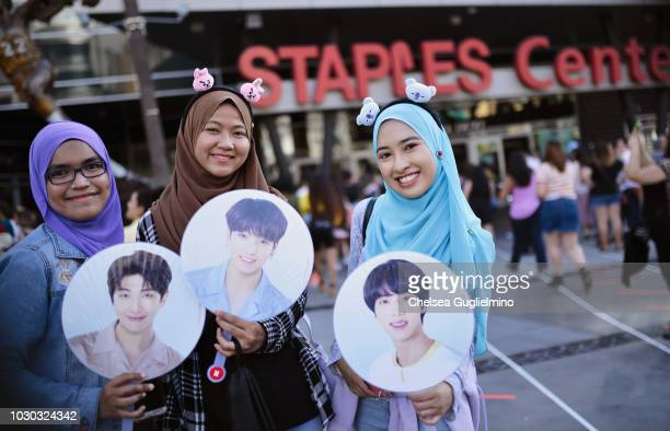 """Fans await the BTS concert as part of the """"Love Yourself"""" North American Tour at Staples Center on September 9, 2018 in Los Angeles, California."""