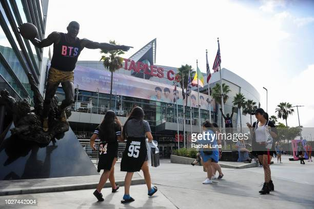 Fans await the BTS concert at the Staples Center as part of the Love Yourself North American Tour on September 5 2018 in Los Angeles California