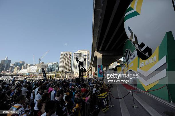 Fans await the opening of the NRL Stadium during the launch of NRL Nation at Darling Harbour on October 1 2015 in Sydney Australia