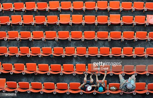 Fans await the start of a game between the Florida Marlins and the San Diego Padres at Sun Life Stadium on July 20 2011 in Miami Gardens Florida