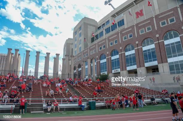 Fans await the start of the game between the Nebraska Cornhuskers and the Akron Zips at Memorial Stadium on September 1 2018 in Lincoln Nebraska