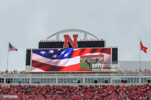 Fans await the start of the game between the Nebraska Cornhuskers and the Purdue Boilermakers at Memorial Stadium on September 29 2018 in Lincoln...