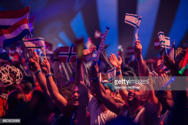 Fans await the start of the second Eurovision semifinal on May 11 2017 in Kiev UkraineUkraine is the 62nd host of the annual iteration of the...