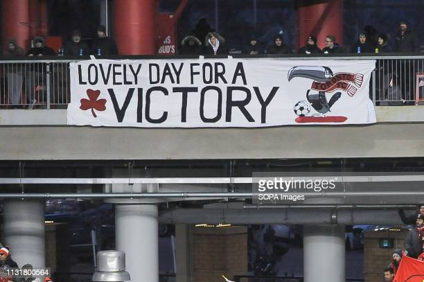 BMO FIELD TORONTO ONTARIO CANADA Fans banner during 2019 MLS Regular Season match between Toronto FC and New England Revolution at BMO Field in...