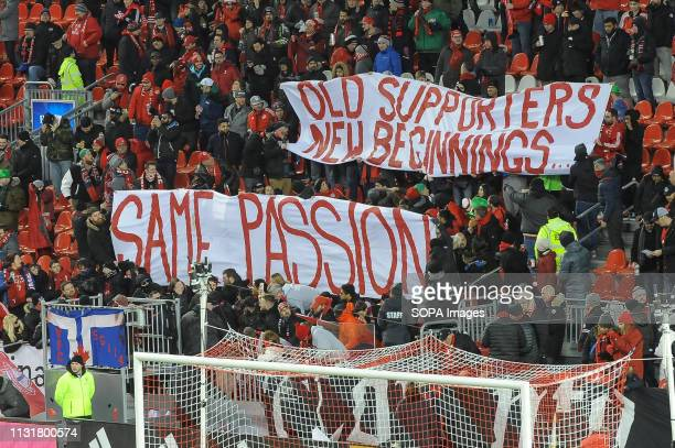 BMO FIELD TORONTO ONTARIO CANADA Fans banners during 2019 MLS Regular Season match between Toronto FC and New England Revolution at BMO Field in...