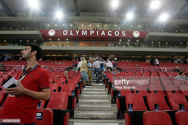 Fans before the Champions League Group A soccer match between Olympiakos and Atletico Madrid at Georgios Karaiskakis Stadium on September 162014 in...