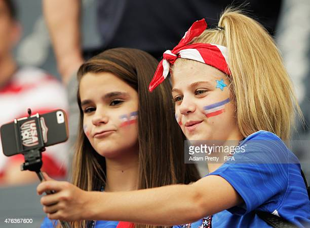 USA fans before the FIFA Women's World Cup Canada 2015 Group D matches between Sweden and Nigeria and Australia and the USA at Winnipeg Stadium on...