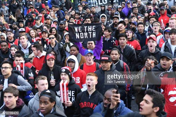 Fans before the game between the Milwaukee Bucks and Toronto Raptors during Game Two of the Eastern Conference Quarterfinals of the 2017 NBA Playoffs...