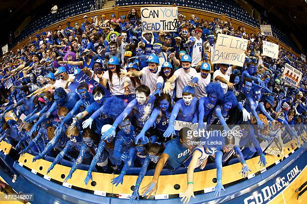 Fans before the start of the game between the North Carolina Tar Heels and Duke Blue Devils at Cameron Indoor Stadium on March 8 2014 in Durham North...