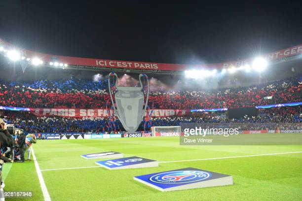 PSG fans before the UEFA Champions League Round of 16 second leg match between Paris Saint Germain and Real Madrid at Parc des Princes on March 6...