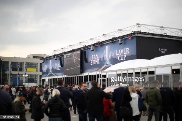 Fans begin arriving ahead of the Laver Cup on September 22 2017 in Prague Czech Republic The Laver Cup consists of six European players competing...