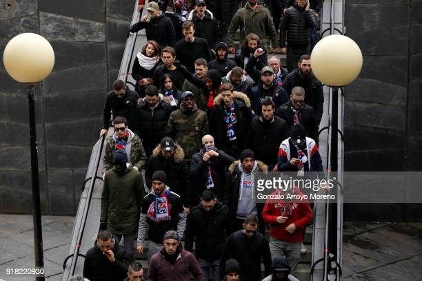 Fans begin arriving ahead of the UEFA Champions League Round of 16 First Leg match between Real Madrid and Paris SaintGermain at Bernabeu on February...