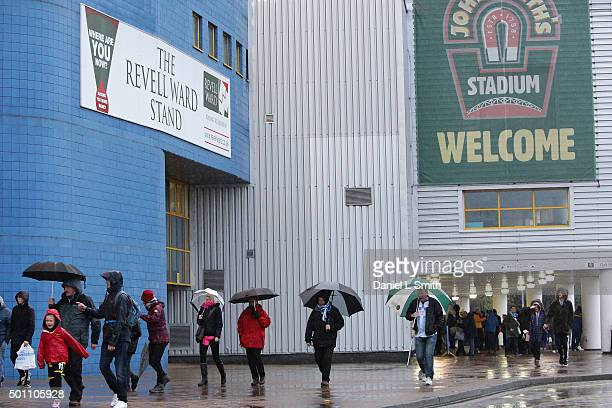 Fans begin to arrive at John Smith's Stadium for the Sky Bet Championship match between Huddersfield Town and Bristol City on December 12 2015 in...