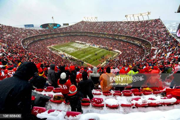Fans begin to filter in prior to the game between the Kansas City Chiefs and the Indianapolis Colts at the AFC Divisional Round playoff game at...