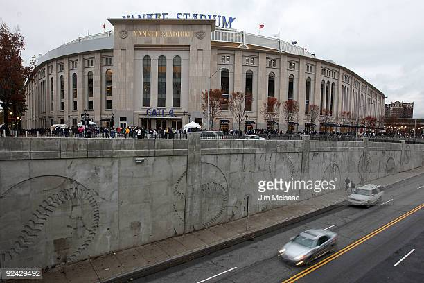 Fans begin to gather outside the stadium prior to Game One of the 2009 MLB World Series between the New York Yankees and the Philadelphia Phillies at...