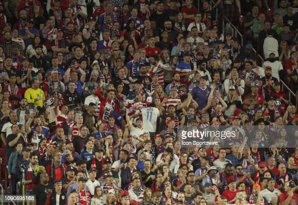 Fans behind the north goal chant and beat drums during the first half of a friendly soccer match with Panama on January 27 at State Farm Arena in...