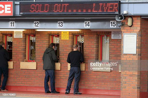 Fans buy tickets at Liverpool Football Club as plans on a buy out by American sports company NESV continues on October 15 2010 in Liverpool England...