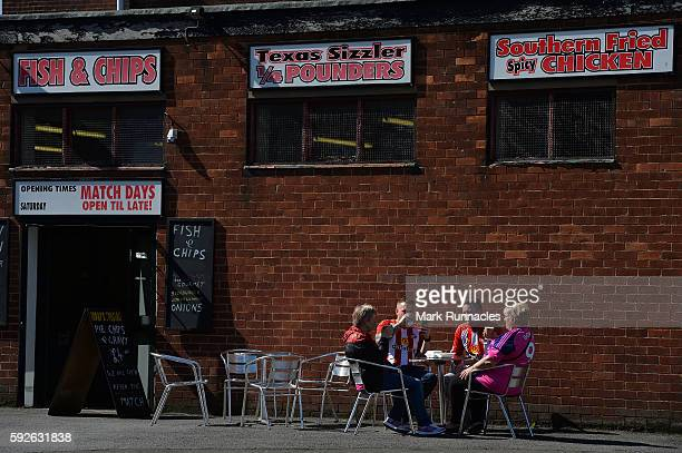 Fans buying their breakfast ahead of the early kick off during the Premier League match between Sunderland FC and Middlesbrough FC at Stadium of...