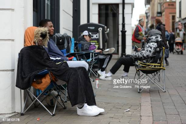 Fans camp outside fashion retailer 18montrose in Nottingham for the Adidas Yeezy Boost 350 V2 trainers the latest footwear to be released by American...