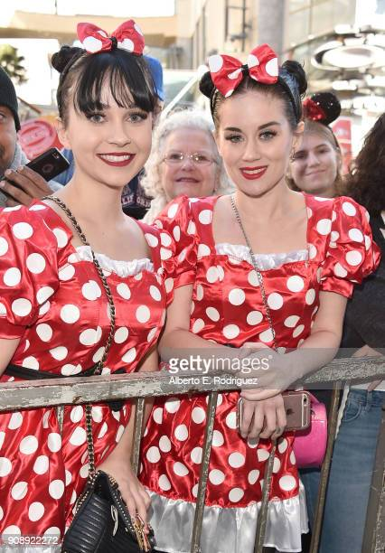 Fans Carly Johnson and Madison Morris attend a star ceremony in celebration of the 90th anniversary of Disney's Minnie Mouse on the Hollywood Walk of...