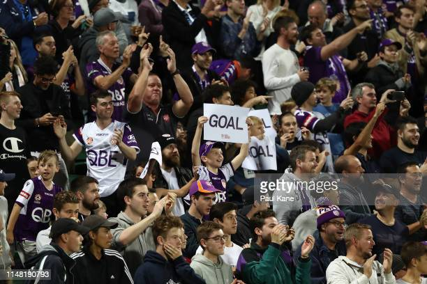 Fans celebrate a goal during the ALeague Semi Final match between the Perth Glory and Adelaide United at HBF Park on May 10 2019 in Perth Australia