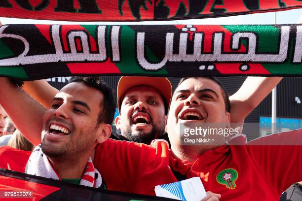 Fans celebrate a victory by the Portugal team after the 2018 FIFA World Cup group B match against Portugal and Morocco on June 20 2018 in Moscow...