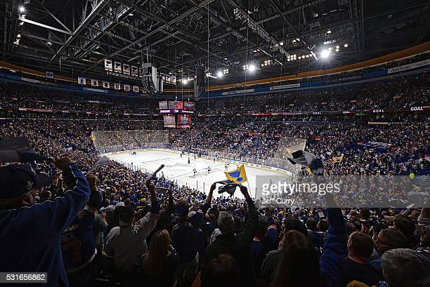 Fans celebrate after the St Louis Blues scored against the San Jose Sharks in Game One of the Western Conference Final during the 2016 NHL Stanley...