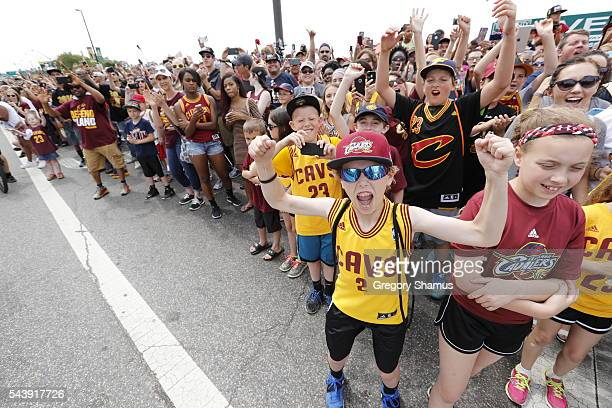 Fans celebrate and pose for a photo during the Cleveland Cavaliers Victory Parade And Rally on June 22 2016 in downtown Cleveland Ohio NOTE TO USER...