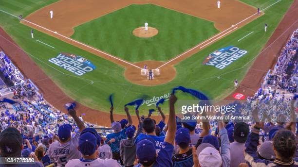 STADIUM fans celebrate as LA Dodgers defeat Boston Red Sox 32 in game 3 the longest game in World Series History 18 innings 7 hours 20 minutes