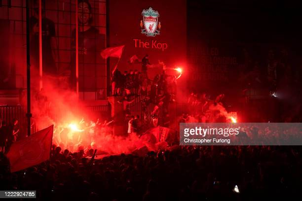 Fans celebrate at Anfield as Liverpool FC won the Premier League title after Chelsea beat Manchester City tonight ensuring Liverpool FC can no longer...