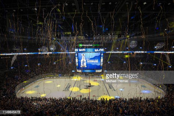 Fans celebrate at the Stanley Cup Final Game 7 Watch Party between the Boston Bruins and the St Louis Blues at the Enterprise Center on June 12 2019...
