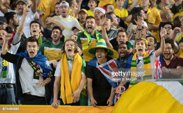 Fans celebrate Australia's 31 victory during the 2018 FIFA World Cup Qualifiers Leg 2 match between the Australian Socceroos and Honduras at ANZ...